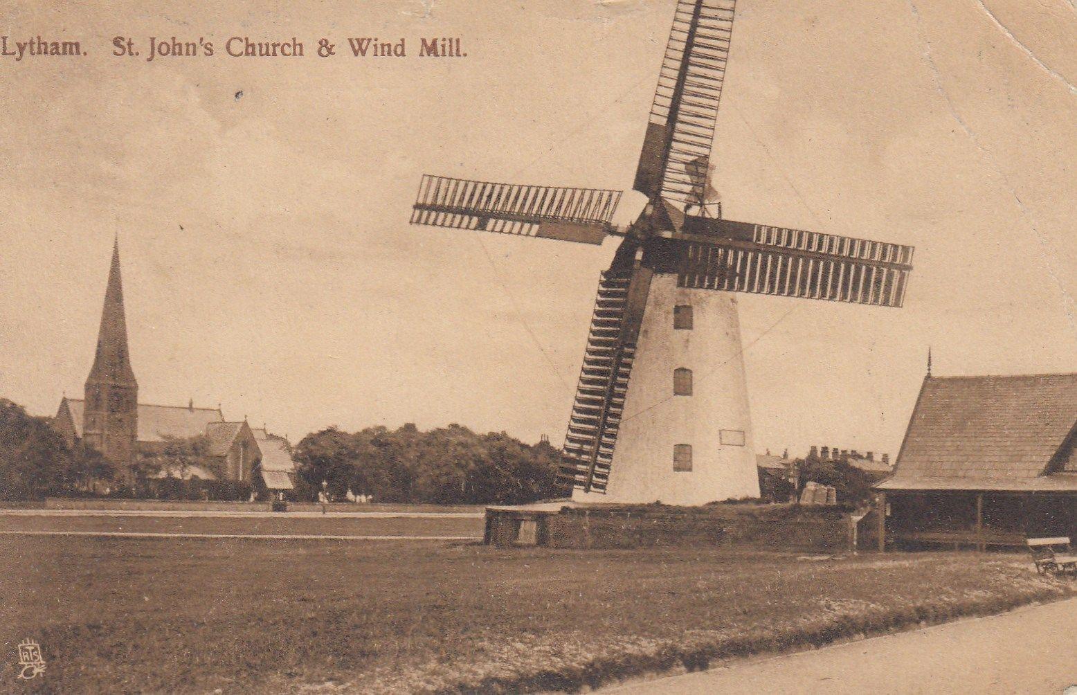 LYTHAM - ST JOHN'S CHURCH AND WIND MILL BY TUCKS 1909   eBay