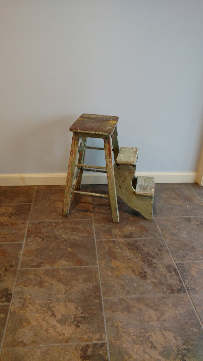 Antique Vintage Wood Folding Step Stool Kitchen Rustic Ladder Farmhouse  Fresh By FingerLakesFinds On Etsy