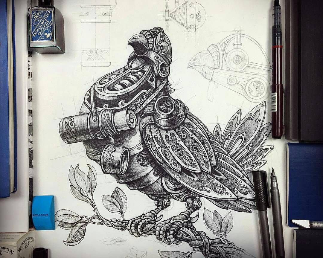 Steampunk homing pigeon concept #steampunk #steampunktendencies #inkration_graphic #dove #homingpigeon #steampunk