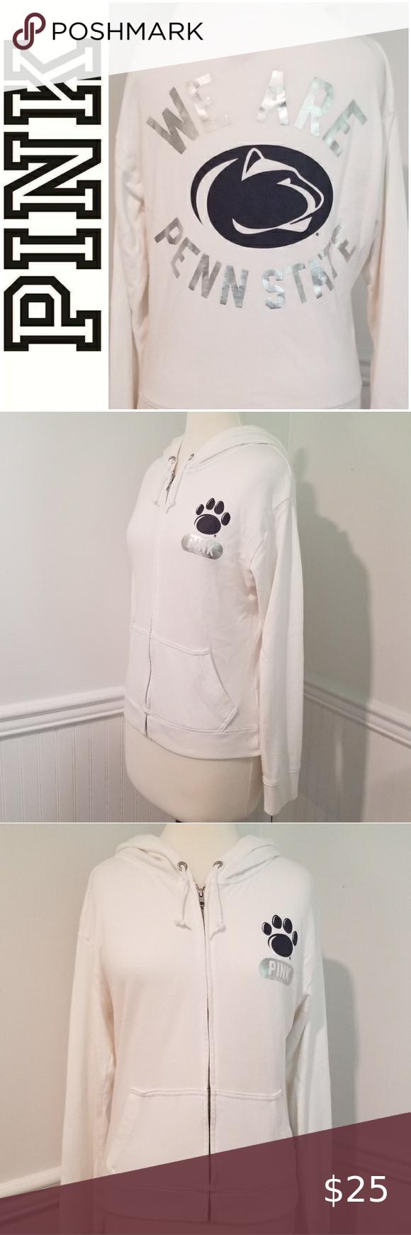 Pink Penn State Nittany Lions Zip Hoodie Sz Med Zip Hoodie White Hoodie White Zip Ups [ 1740 x 580 Pixel ]
