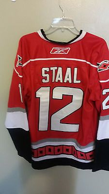 CAROLINA HURRICANES ERIC STAAL CAPTAIN HOCKEY JERSEY SIZE 50 RED ADULT 86a19e405