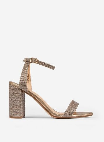f3cb48e2966 Womens Wide Fit Gold Shimmer Heel Sandals- Gold in 2019   Products ...