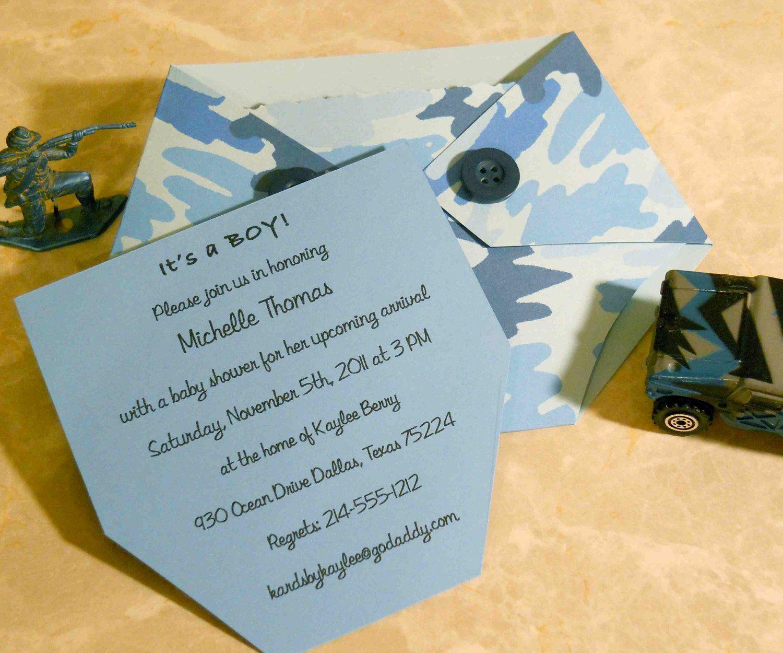 Baby Shower Invitation Blue Camo Diaper Shaped. $3.00, via Etsy ...
