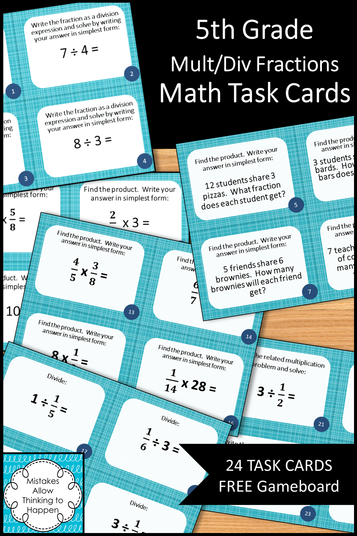 5th Grade Multiplying And Dividing Fractions Math Task