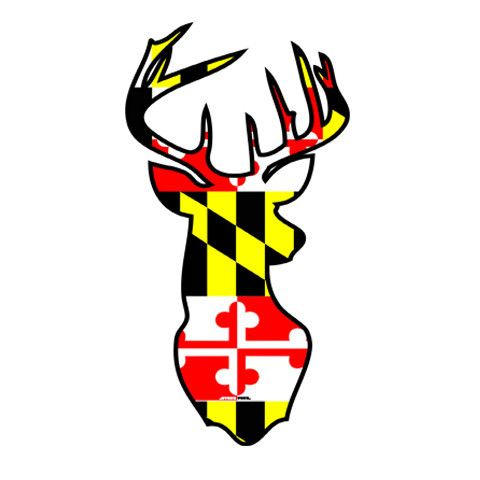 Maryland flag deer head sticker
