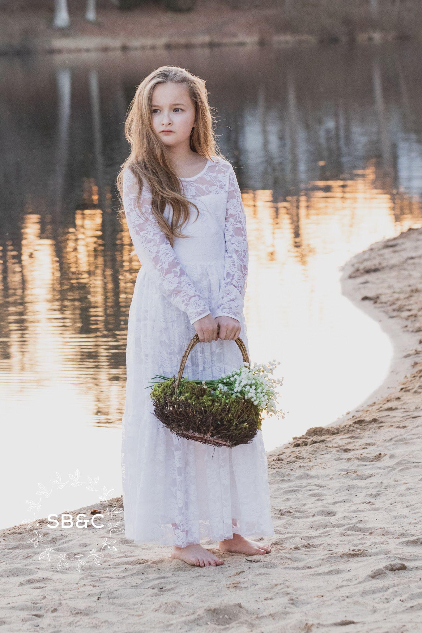 Flower girl dressesrustic flower girl dresswhite vintage