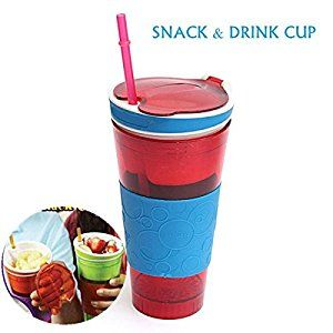 500ml 2in1 Travel Snack and Drink Cup Bottle Container with Lid and Straw