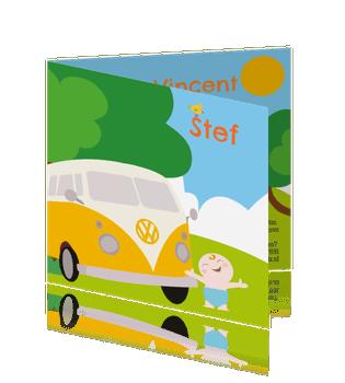 Vrolijke geboortekaart met volkswagen in geel voor een jongen