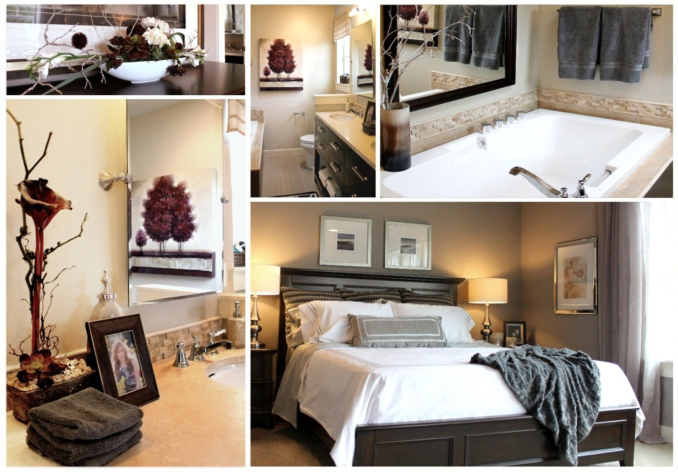 Gray taupe and deep purple master bedroom and bath my for Purple and taupe bedroom