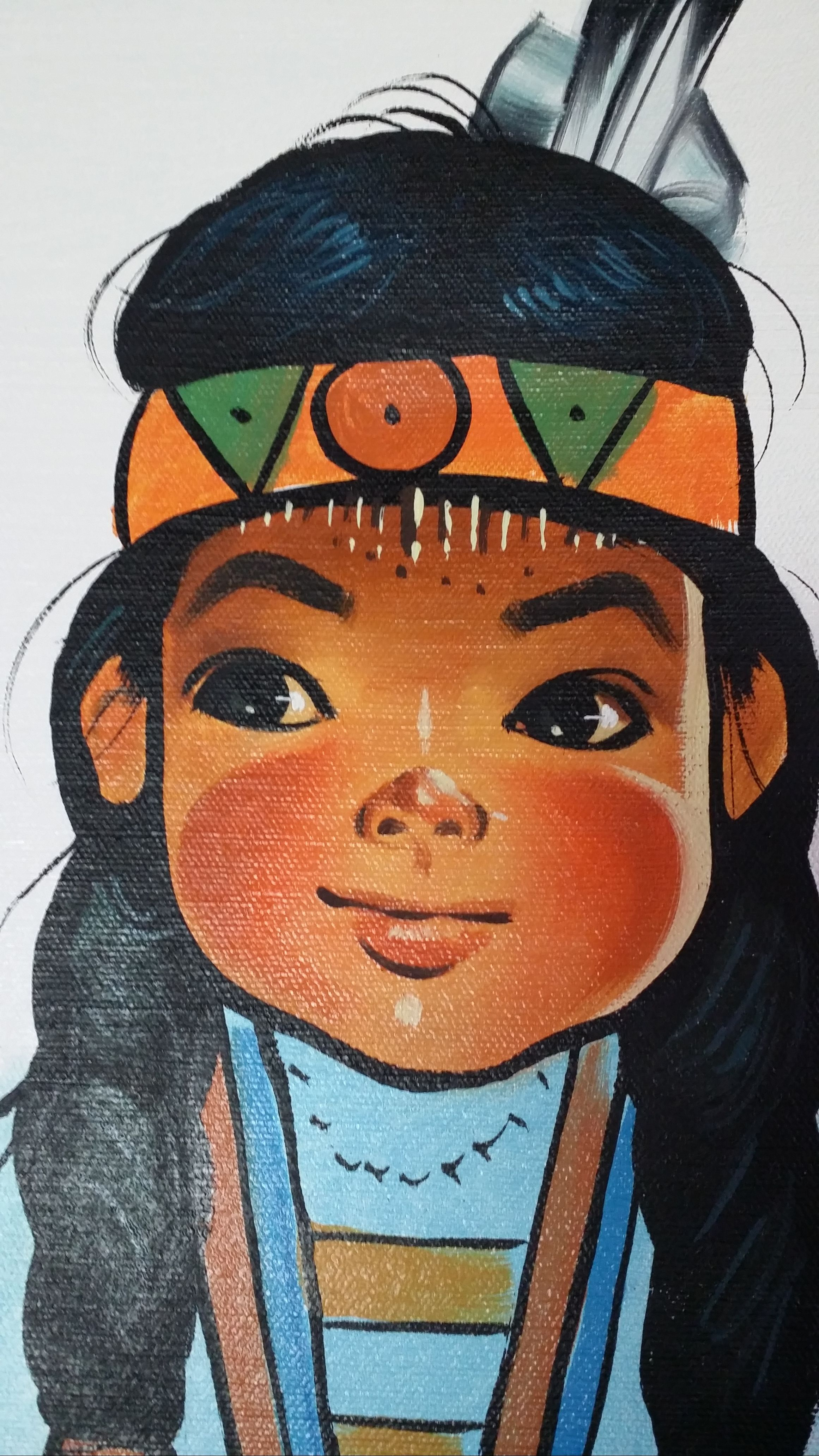 "vintage Jenkins 16""x20"" Canvas of BIG EYED Indian Native"
