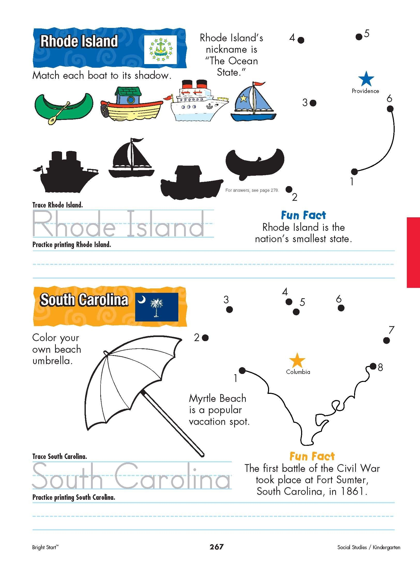 Rhode Island And South Carolina Your Kindergartener Can Practice Writing The State Name And