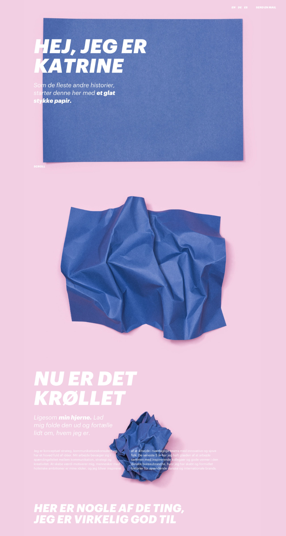 Awesome Crumpled Paper Animation As You Scroll The One Pager Of Katrine Mehl Who Is Fittingly A Communication In 2020 With Images One Page Website One Pager Design Web App Design