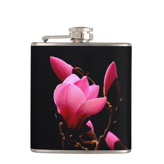 Pink Magnolia On a Black Background Flask | Zazzle.com #AlexLyubarFineArtPhotography#VancouverCanada #ArtForHome #FineAftPrint