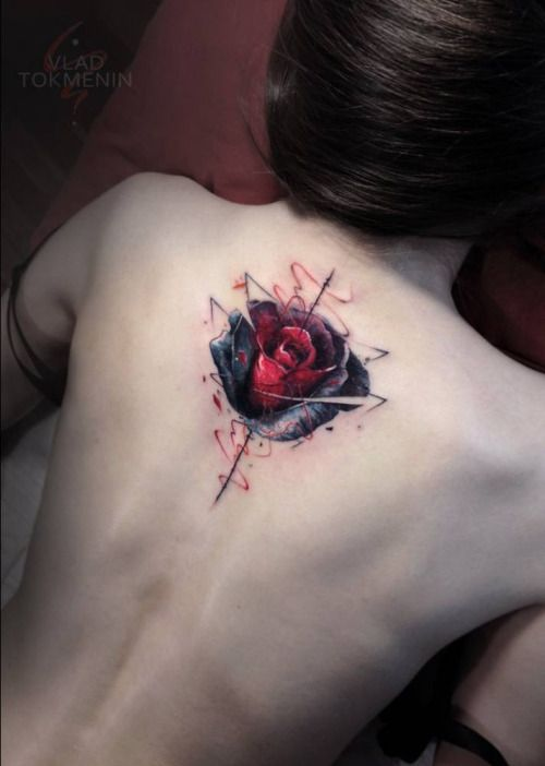 Graphic Style Red Rose Tattoo On The Upper Back Tattoo Artist Red Rose Tattoo Rose Tattoo On Back Tattoos