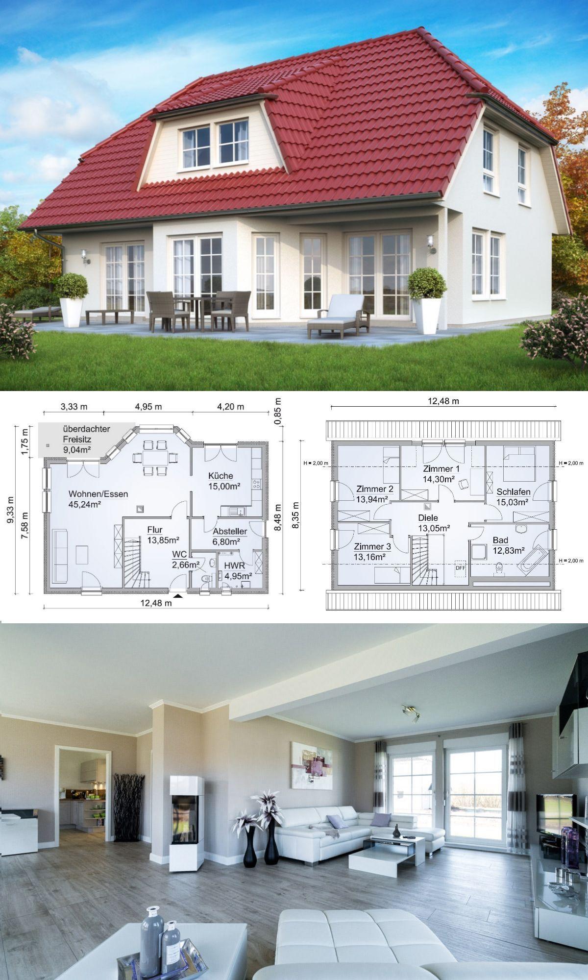 Modernes Landhaus mit Walmdach Architektur, Sprossenfenster, Galerie ...