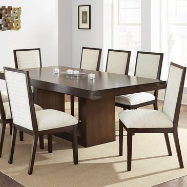 steve silver antonio 7 piece dining room set w white chairs in deep rh pinterest com au