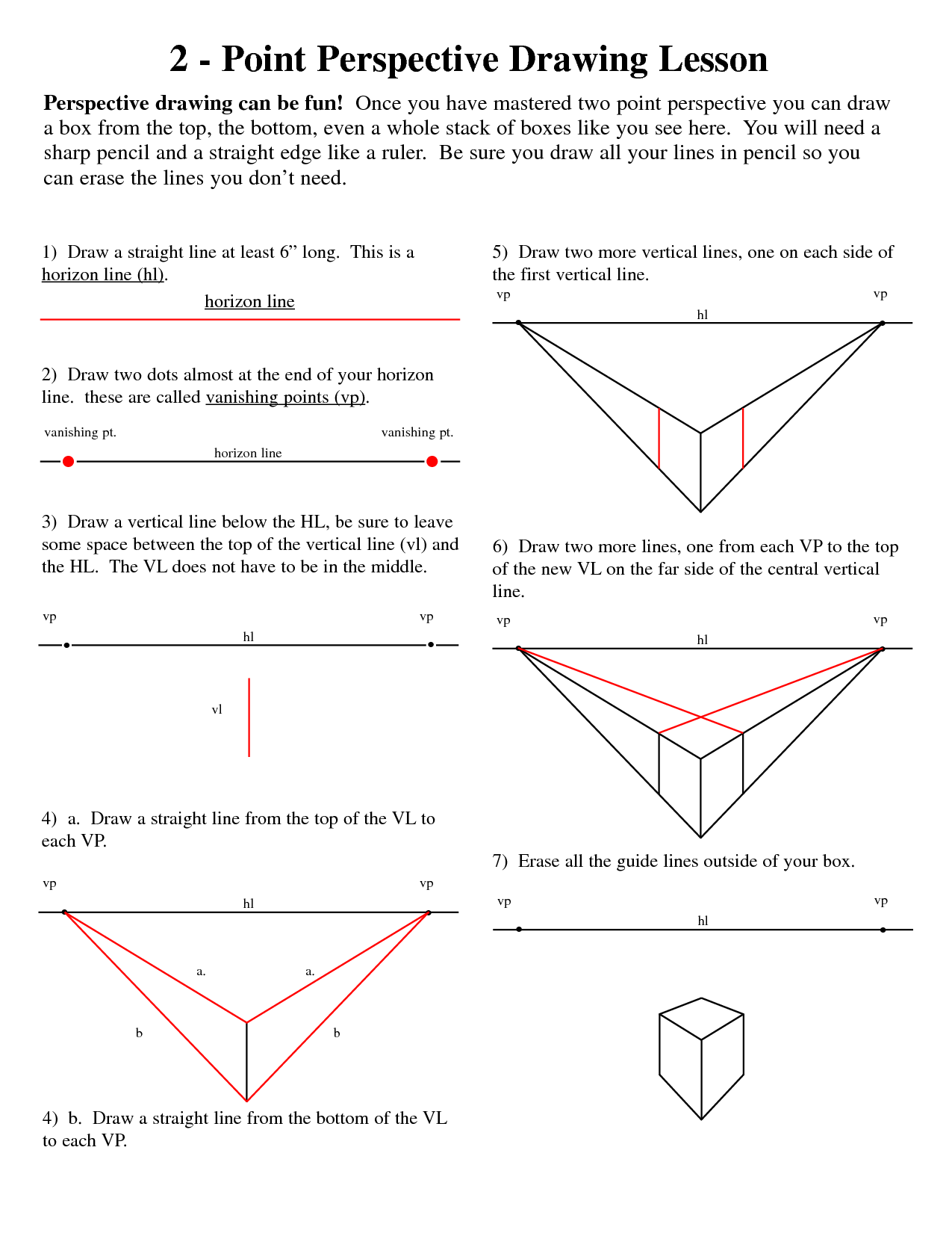 Worksheets One Point Perspective Worksheet 2 point perspective lesson plan template two is a slight variation of one drawing you still have horizon line vanishing point