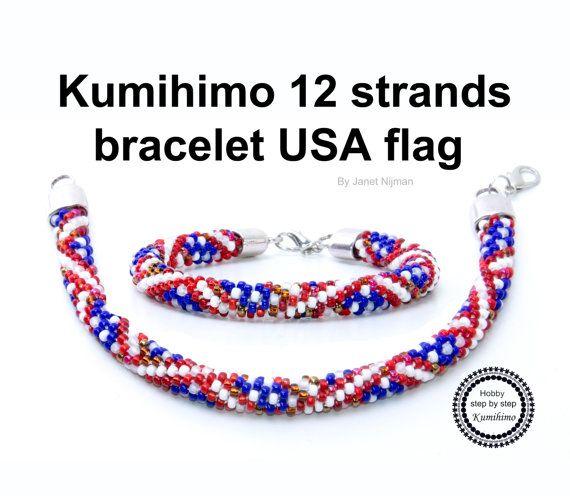 Kumihimo Pattern Tutorial 12 Strand Usa Flag Etsy In 2021 Kumihimo Patterns Kumihimo Kumihimo Bracelets