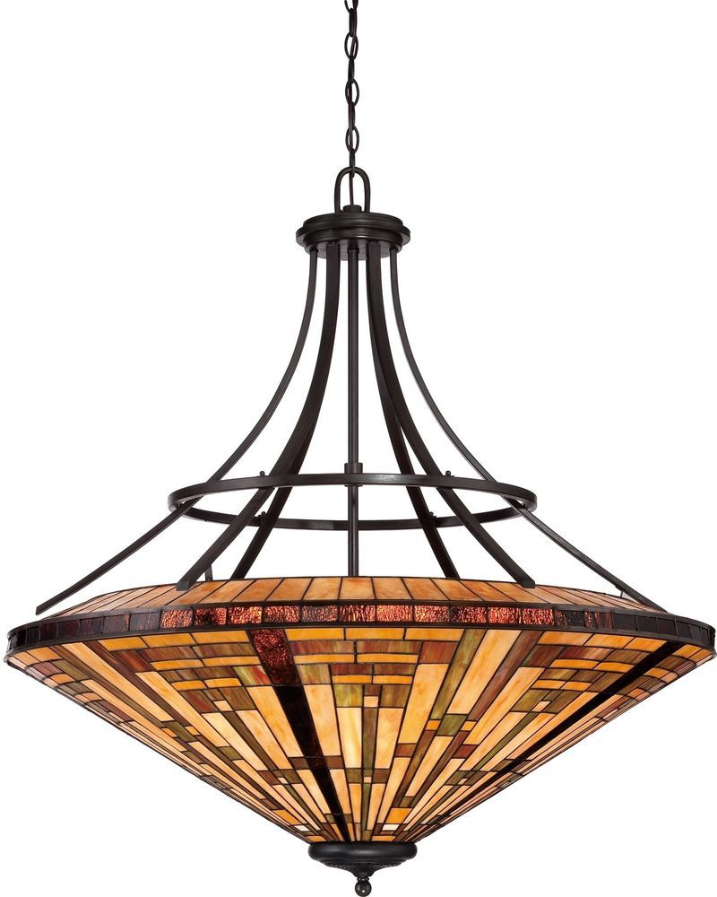 Dining Room Light Fixture Tiffany Style Stained Glass Ceiling Chandelier  Mission #Unbranded