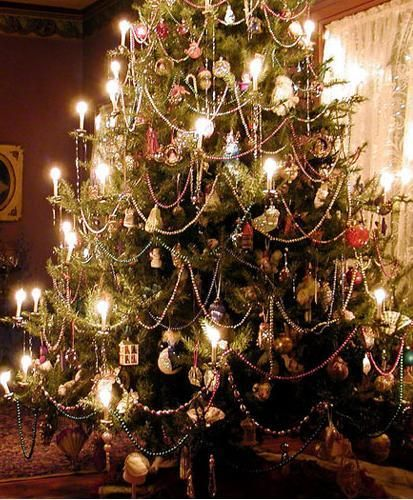 Victorian Christmas Tree With Candles And Glass Bead