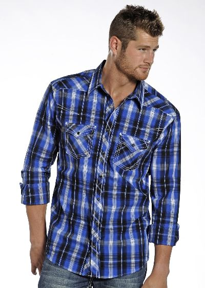 2634cd04a0a Rock & Roll Cowboy Snap Satin Plaid