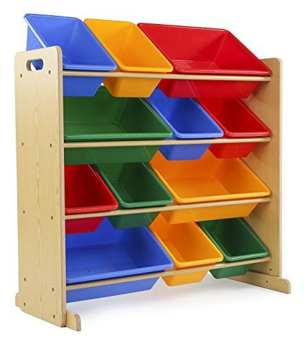 Tot Tutors Kids Toy Storage Organizer With 12 Plastic Bins Natural Primary Primary Collection Toy Storage Organization Kid Toy Storage Toy Storage