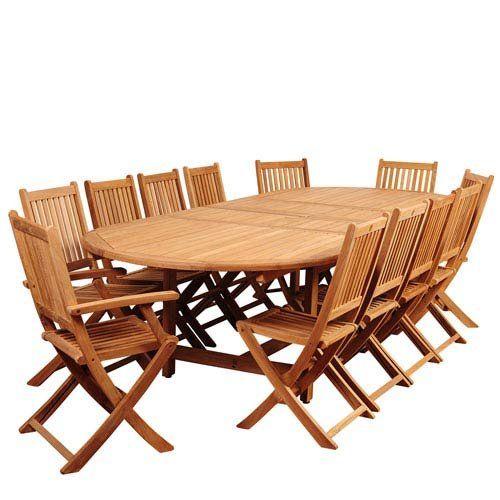 international home amazonia teak 13 piece extendable patio dining