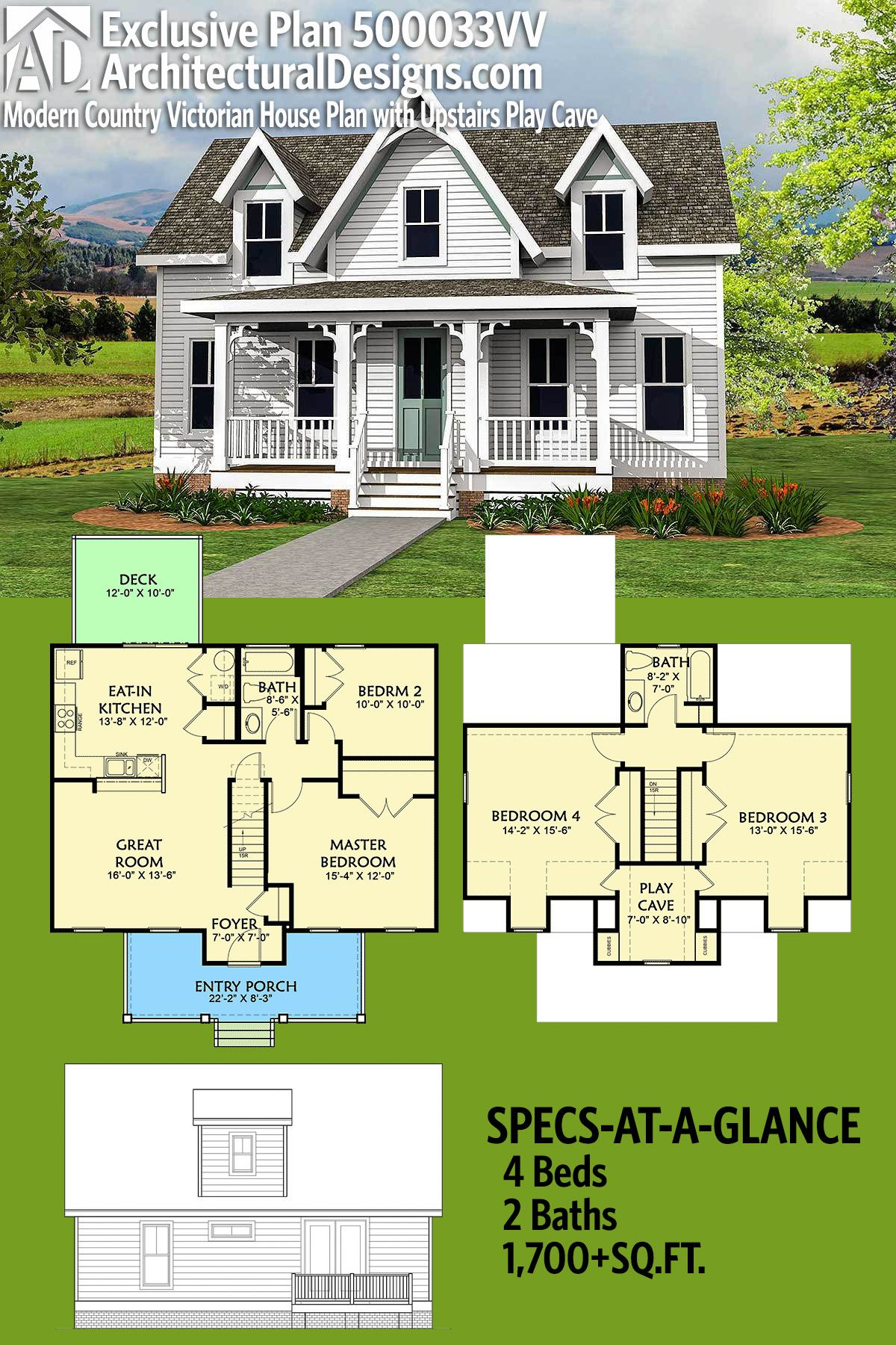 Plan 500033vv Modern Country Victorian House Plan With Upstairs Play Cave Victorian House Plans House Plans Farmhouse Country House Plans