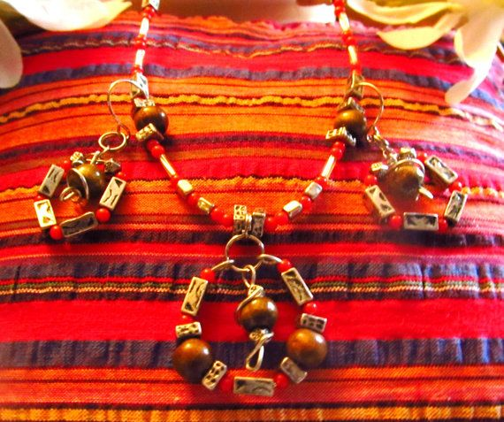 Wood metal and red beaded Necklace and Earrings by DesignByTweet, $15.00