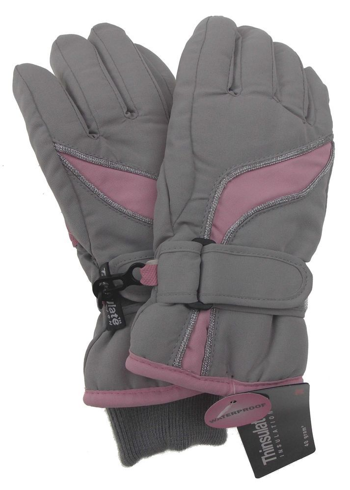 14d87e732 Joe Boxer Girls Ski Gloves Pink Gray 3M Thinsulate Insulation Winter Snow  Warm #JoeBoxer #SkiGloves