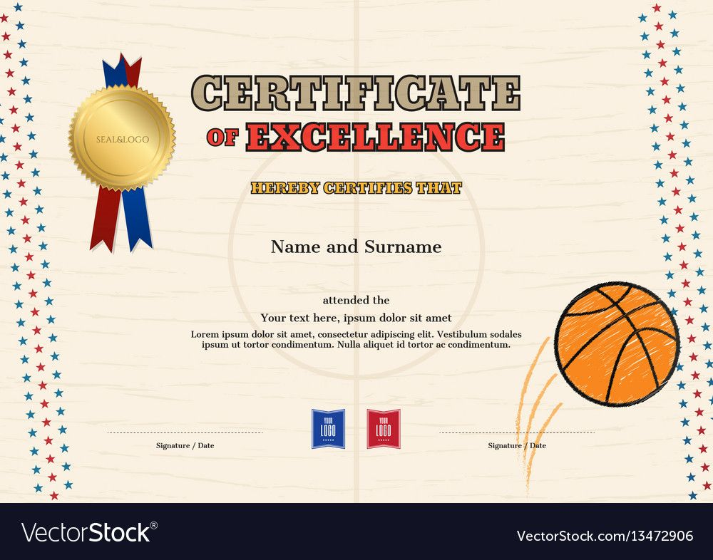 Certificate of excellence template in sport theme for