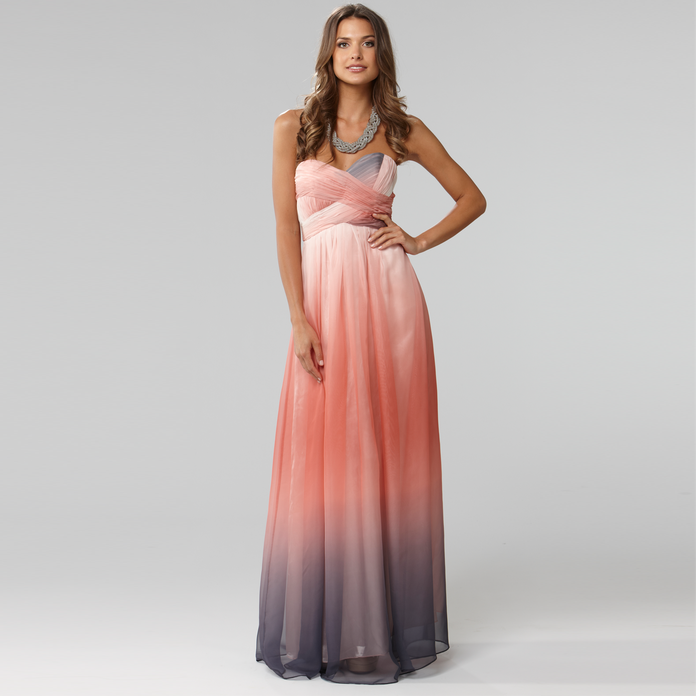 Langham mona lisa coral sweetheart bust maxi dress