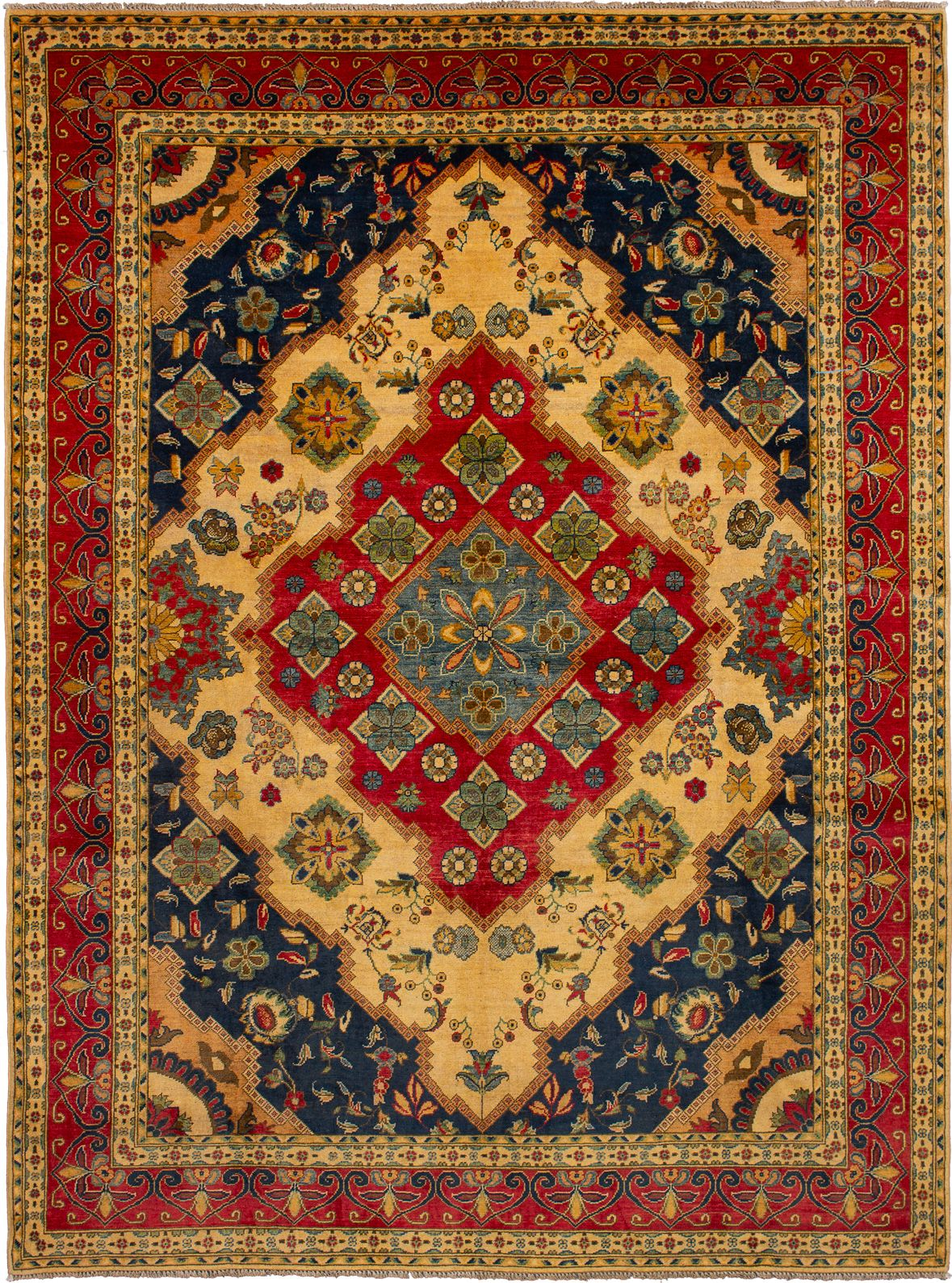 Hand Knotted Finest Gazni Cream Red Wool Rug 7 8 X 10 4 With Images Antique Persian Carpet Rugs On Carpet Buying Carpet