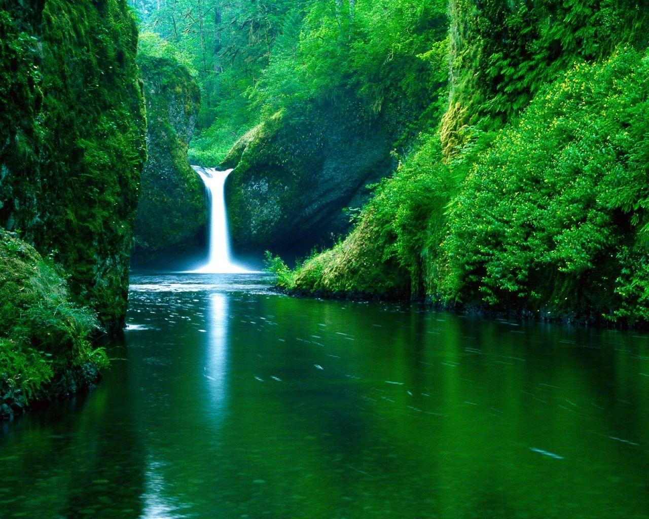 Green Landscape Wallpapers Hd Green Landscape Wallpaper Waterfall Wallpaper Beautiful Nature Punchbowl Falls
