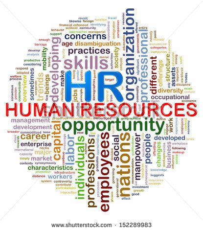 Illustration of circular design presentation of wordcloud word - hr resource