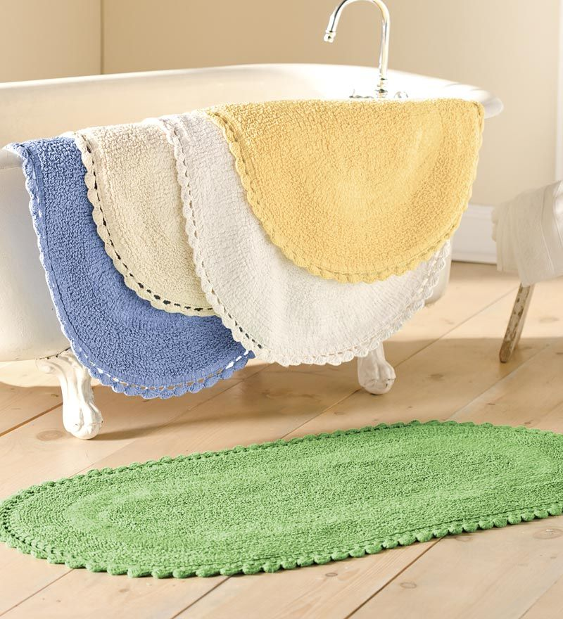 Cotton Reversible Chenille Bath Mat Bathroom Be It Ever - Oval bath mat for bathroom decorating ideas