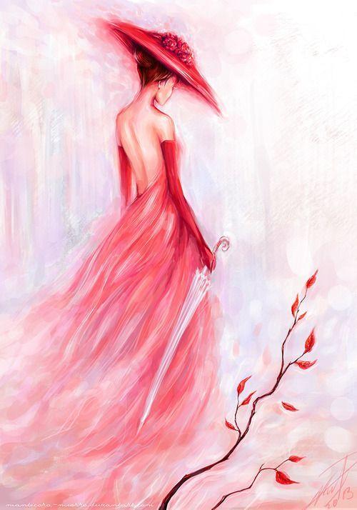 Que significa mujer con vestido rojo