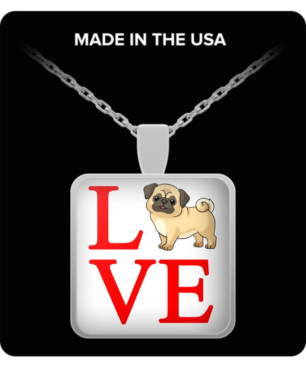Love Necklace, Pug Lover, Pug Jewelry, Pug Necklace, Novelty Dog Jewelry, Dog Lover Necklace, Gift for Dog Mom, Dog Mom Necklace
