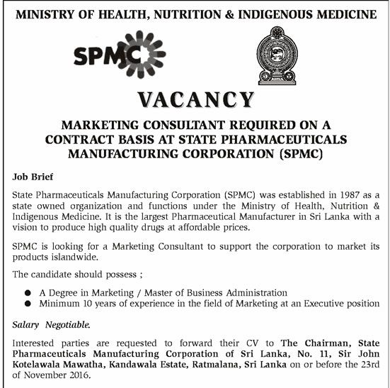 State Pharmaceutical Manufacturing Corporation, Ministry of Health - marketing consultant job description