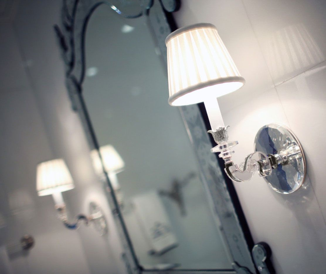Elegant Transitional Bathroom Decor With Crystal And Silver Wall Simple Wall Sconces Bathroom Review