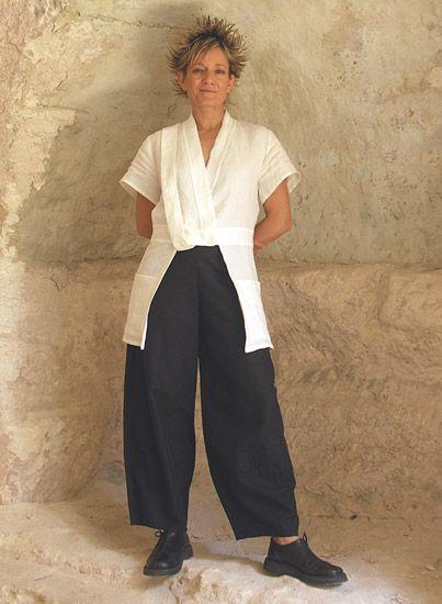 AMALTHEE CREATIONS- -Large Black linen pants Pantalon Noir, Veste, Robe, 94c0b61ca788