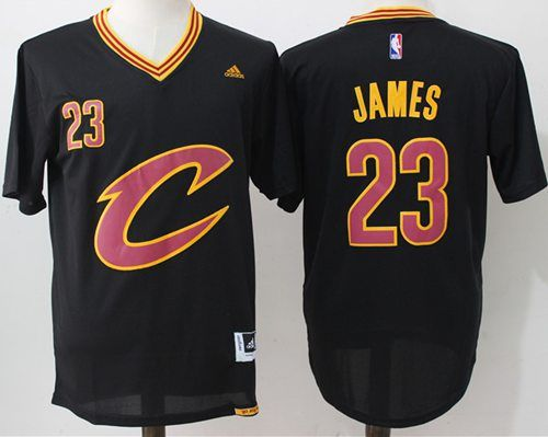 separation shoes c8be0 02bf9 Cavaliers #23 LeBron James Black Short Sleeve C Stitched NBA ...