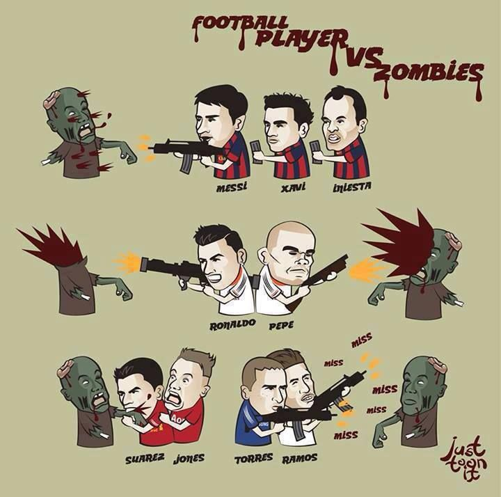 football players vs zombies #messi #xavi #iniesta #cristianoronaldo #pepe #suarez #jones #fernandotorres #ramos #zombie apocalypse jokes