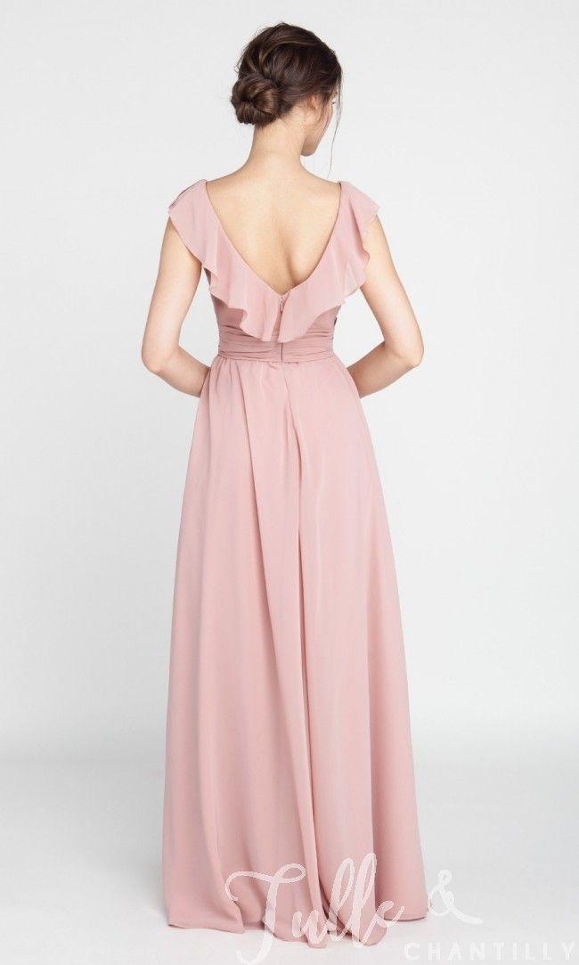 Ruffled V-neck Chiffon Long Bridesmaid Dress TBQP387   Damas y ...