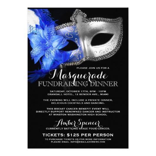 custom masquerade mardi gras fundraiser invitation ...