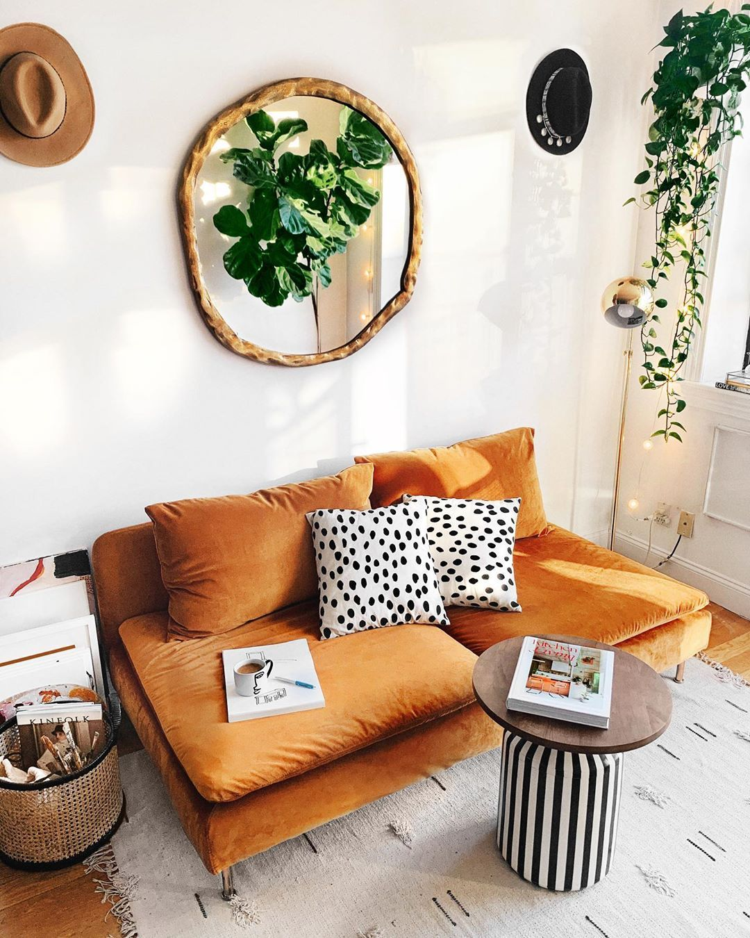 @viktoria.dahlberg's living room never gets old 🤩🤩🤩. So stylish with the mirror and colors! Click the image to try our free home design app.  (Keywords: living room decor, living room ideas, living room designs, dream rooms, house design, home decor ideas, living room rugs, living room furniture, positive vibes, positive thoughts, boho living room)