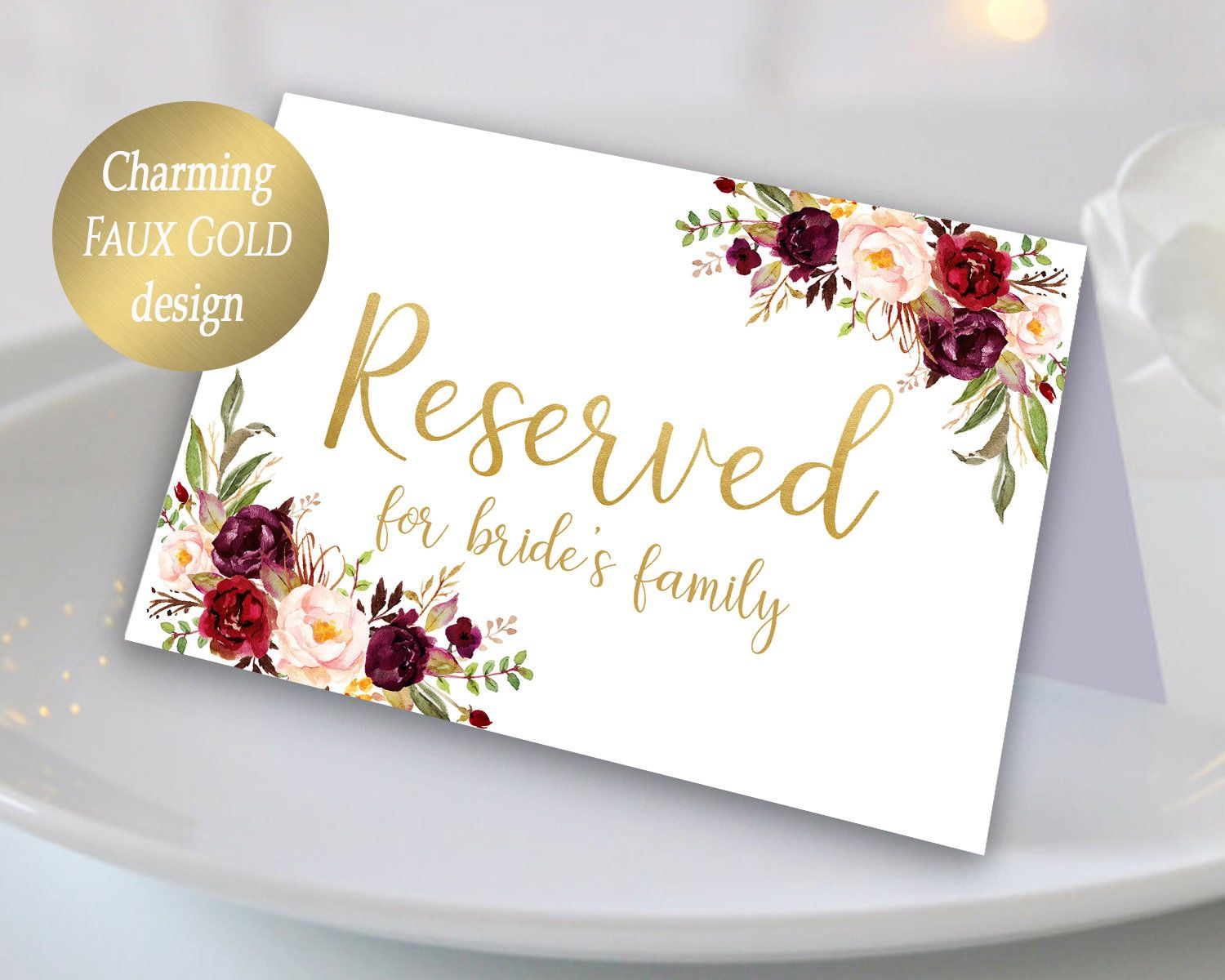 Editable reserved printable reserved wedding sign reserved