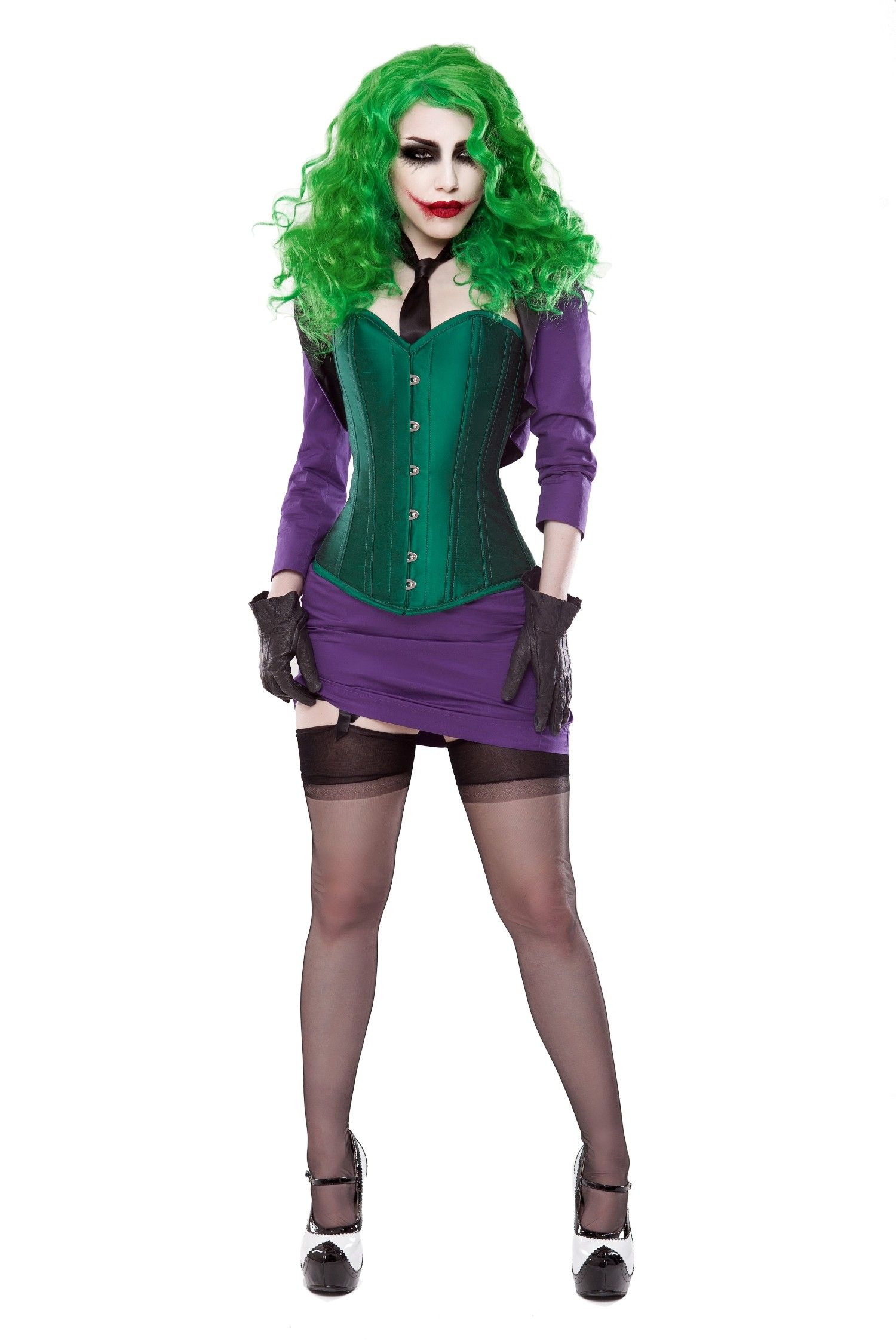 f7675007d2 Green Silk Corset With Purple Bolero   Skirt Outfit