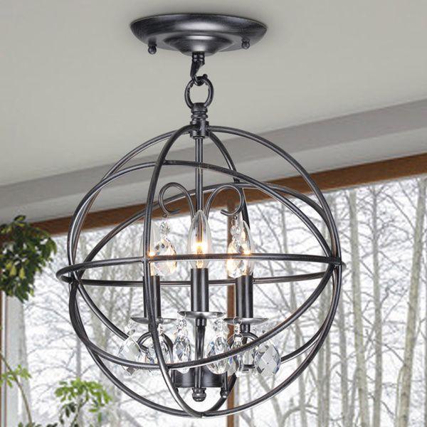 Benita 3 Light Antique Black Metal Globe Crystal Flush Mount Chandelier By The Lighting Store
