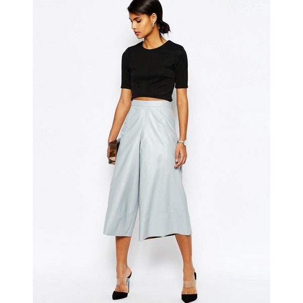 ASOS Leather Look Structured Culottes (80 NZD) ❤ liked on Polyvore  featuring pants,